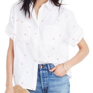 Madewell Embroidered Daisy Courier Shirt size LG
